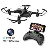 DROCON Drone with Camera, FPV RC Drone with 720P HD Wi-Fi Camera ,Quadcopter Drone for Kids & Beginners – Altitude Hold, Headless Mode, Foldable Arms, One Key take Off/Landing, Black
