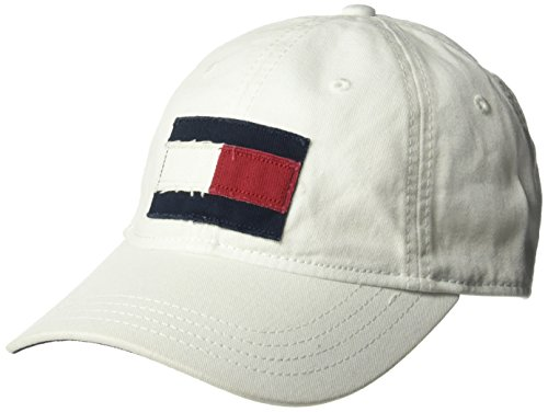 Tommy Hilfiger Men's Dad Hat Tommy Flag Cap, Classic White, O/S