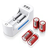 EBL RCR123A Rechargeable Batteries Arlo Batteries Li-ion 3.7V Battery (4-Pack) with Li-ion Universal Battery Charger for Arlo Camera
