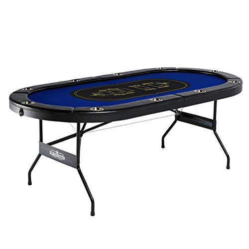 Barrington Texas Holdem Poker Table for 10 Players with Padded Rails and Cup Holders - No Assembly Required