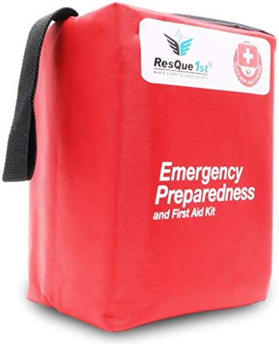 Emergency First Aid Kit: Add to Camping Gear, Home, Dorm, Survival Gear and Equipment, Hunting, Camping Accessories, Car Survival Kit, Travel Accessories, Tactical Gear. – 180 Pieces   by ResQue1st