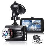 "TOGUARD Dual Dash Cam Car Camera 1080P Front and 720P Rear View Backup Camera 170° Wide Angle 3.0"" LCD, Night Vision WDR G-Sensor Parking Monitor Loop Recording Motion Detection"