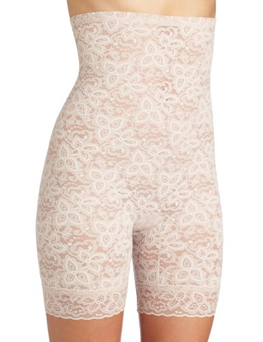 Bali Women's Shapewear Lace 'N Smooth Hi-Waist Thigh Slimmer, Rosewood, Medium