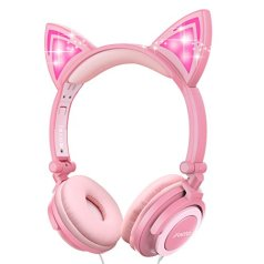 I LOVE EF IFECCO Kids Cat Ear Light Glowing over-Ear Headphone Headset (Pink) with 3.5 mm Audio Cable