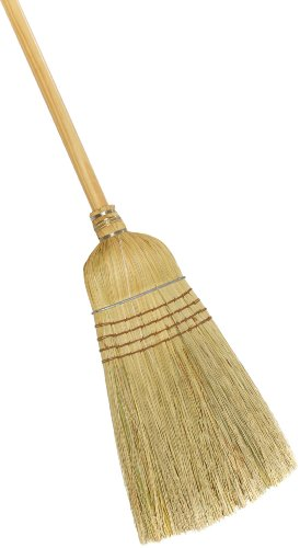 """Weiler 44008 Corn Fiber Heavy-Duty Wire Banded Warehouse Broom with Wood Handle, 1-1/2"""" Head Width, 57"""" Overall Length"""