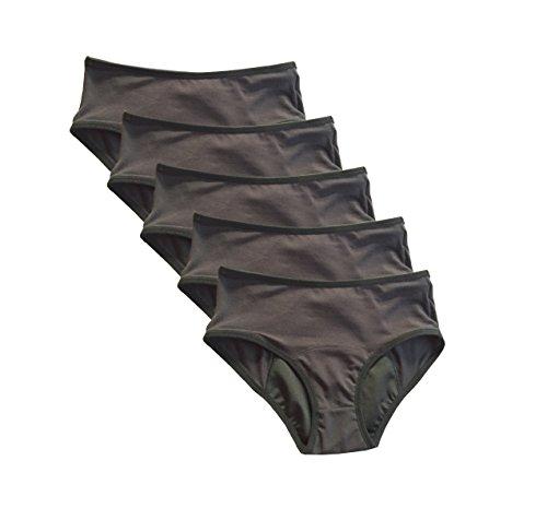 4period 5 Pack Women's Absorbent Period Panties; Leakproof, Sanitary, Protective Underwear (Medium) Solid Black