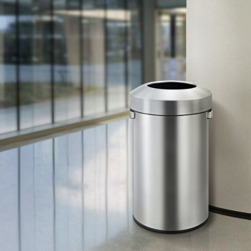 EKO-Urban-Commercial-90-Liter-237-Gallon-Open-Top-Trash-Can-Brushed-Stainless-Steel-Finish