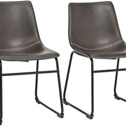 Phoenix Home PU Leather Dining Chair Set of 2, 18.11″ Length x 21.65″ Width x 30.7″ Height, Gray
