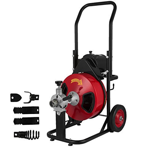 VEVOR-Sewer-Snake-Drill-Drain-Auger-Cleaner-100-Ft-Long-38-Wide-Electric-Drain-Cleaning-Machine-4-Cutter-Foot-Switch-Drain-Cleaner-Drum-Auger-Snake-for-1-14-to-4-Pipes-100-Ft-x-38-Inch