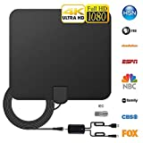 TV Antenna Indoor, BBX Lephsnt HDTV Antenna 60-120 Miles Range with Amplifier Signal Booster Support 4K 1080p VHF UHF All Older TVs Freeview Local Channels 14.4ft Coax Cable/USB Power Adapter