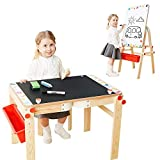 TOP BRIGHT Wooden Art Easel for Kids Art Table and Storage,Desk Kids Easel and Chalkboard
