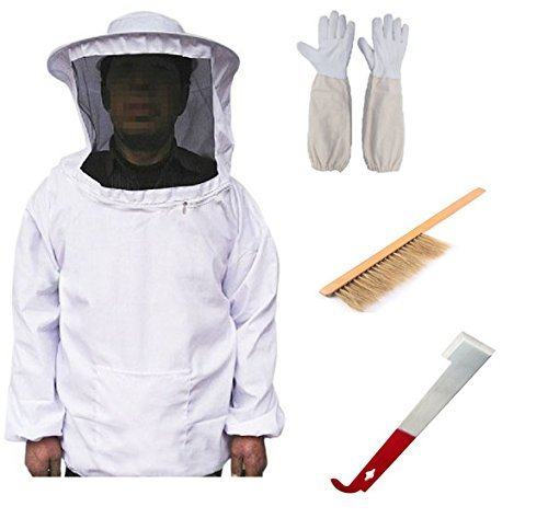LORJE Beekeeping Bee Keeping Suit Jacket&Gloves& Bee Hive Brush & J Hook Hive Tool Set