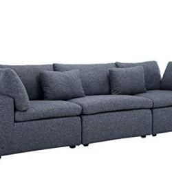 Large Classic Living Room Linen Fabric Sofa, 111.8″ W inches (Dark Grey)