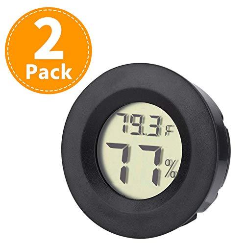 Humidor Hygrometer Digital Round Humidity&Temperature Gauge Mini LCD Display Meter 2 Pack