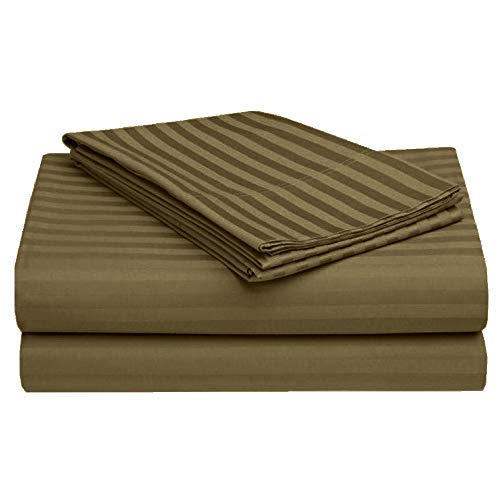 King Size Sheets Set - 4 Piece Set - Hotel Luxury Bed Sheets - Extra Soft - 21' Deep Pockets - Easy Fit - Breathable & Cooling - Comfy -Taupe Stripe Bed Sheets - 100% Cotton Sheets - 4 PC
