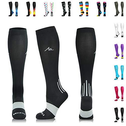 NEWZILL Compression Socks (20-30mmHg) for Men & Women - Best Stockings for Running, Medical, Athletic, Edema, Diabetic, Varicose Veins, Travel, Pregnancy, Shin Splints.