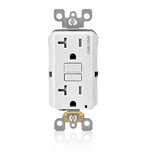 Leviton AGTR2-W SmartlockPro Dual Function AFCI/GFCI Receptacle, 20 Amp/125V, White