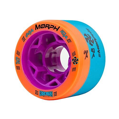 Reckless Wheels - Morph - 4 Pack of 38mm x 59mm Dual-Hardness Roller Skate Wheels | 88A/93A | Orange/Blue