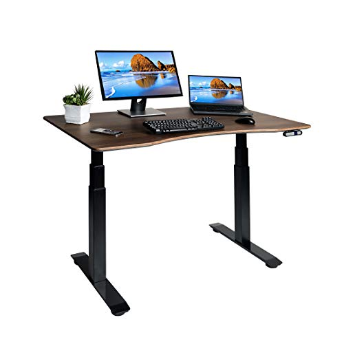 Seville Classics OFFK65826 Airlift S3 Electric Standing Desk with 54' Top, Dual Motors, 4 Memory Buttons, LED Height Display (Max. 51.4' H) 3-Section Base, Black/Walnut, Wood,