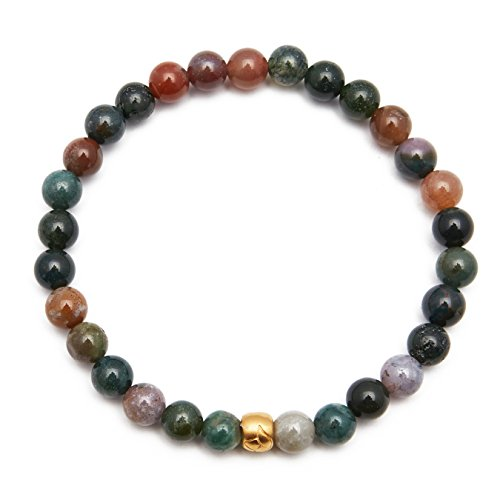 41ruSUBCkwL Embark on a journey of self-discovery. Adorn your wrist with this natural stone and lotus bead stretch bracelet, great for layering. Recognizing both style and a deeper intention, this style has natural stones and meaningful symbols. 6mm round smooth stones and lotus bead make up this 7.25-inch stretch bracelet. 18kt gold plated brass.