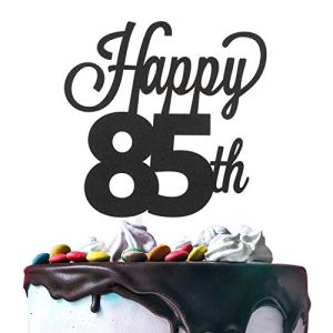 Happy 85th Birthday Black Glitter Cardstock Paper Cake Topper Cheers to 85 Years Old Bday Party Gift Photo Booth Sign Decoration – Premium Double Sided 41rxRQk7UJL