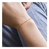 18k Gold Satellite Chain Bracelet for Women Delicate Double Layering Bracelet Sets Minimalist Link Jewelry 7''