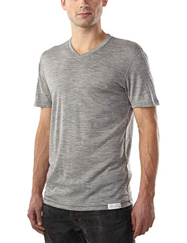 Woolly Clothing Co Men's Merino Wool V-Neck Hiking and Travel T-Shirt,Grey,X-Large