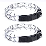 Coastal Pet Easy-On Chrome-Plated Dog Prong Training Collar with Buckle | X-Heavy, 22-Inches Girth (2-Pack)