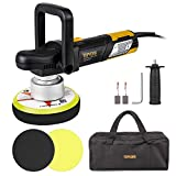 TOPVORK Polisher, 6' Dual-Action Car Buffer/Waxer, 2000-6400OPM, High Performance Kit with D-Handle & Side Handle, 2 Foam Discs, 2 Carbon brushes, Allen Wrench, Carring Bag