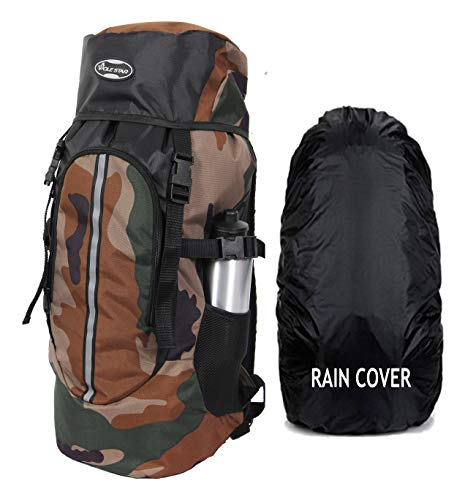 POLESTAR Hike Camo 44 Ltr Rucksack With Rain Cover For Trekking Hiking Travel Backpack