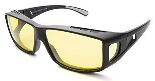 Fitover Night Driving Glasses (Charcoal, Yellow)