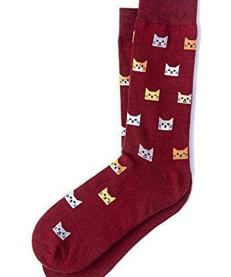 Men's Kitty Cat Kitten Power Animal Novelty Crew Dress Socks