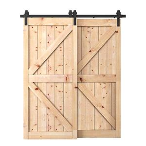 WBHome 6.6 FT Bypass Kit (one rail) Steel Sliding Barn Hardware Double Wood Doors One-Piece Rail Track Kit, Black