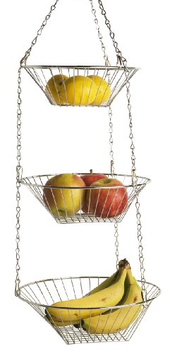 Home Basics Kitchen 3 Tier Wire Detachable Customizable Round Hanging Fruit Baskets , Heavy Duty, Space Saving, Chrome Finish