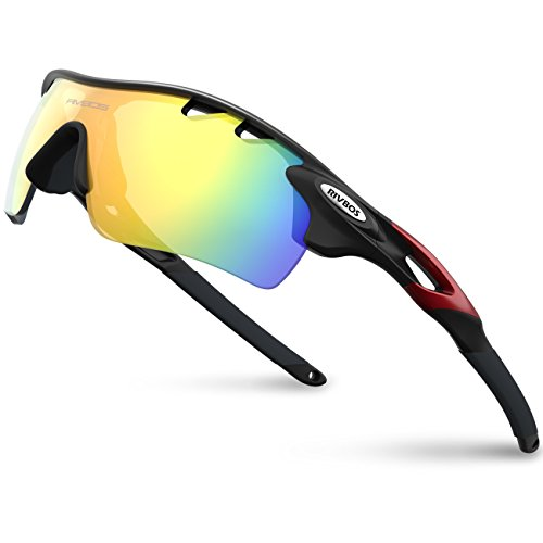 RIVBOS 801 Polarized Sports Sunglasses Sun Glasses with 5 Interchangeable Lenses for Men Women Baseball Cycling Runing (Black&Red)