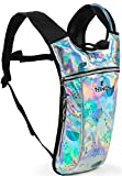 REINOS Hydration Backpack - Light Water Pack - 2L Water Bladder Included for Running, Hiking, Biking, Festivals, Raves (Bat)