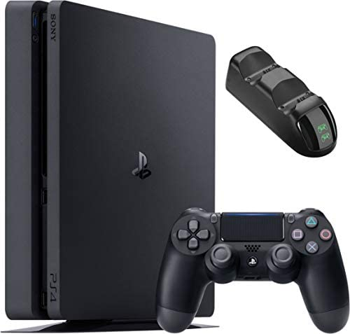 Sony Playstation 4 1TB Console – Black PS4 Slim Edition with 1TB Storage, one DS4 Wireless Controller and GalliumPi Dual PS4 Controller Charging Dock Bundle