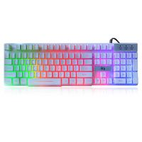 Rii RK100+ White Gaming Keyboard,USB Wired Multiple Colors Rainbow LED Backlit Large Size Mechanical Feeling Ultra-Slim…