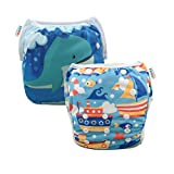 ALVABABY 2pcs Swim Diapers Reuseable Adjustable for Baby Gifts & Swimming Lessons (Whale and Boat, 0-2 Years) SWD36-41