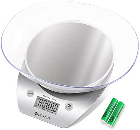 Etekcity Food Scale with Bowl, Digital Kitchen Weight Grams and Ounces for Cooking and Baking, 1g Increment, Large LCD Display, Silver/Stainless Steel 3