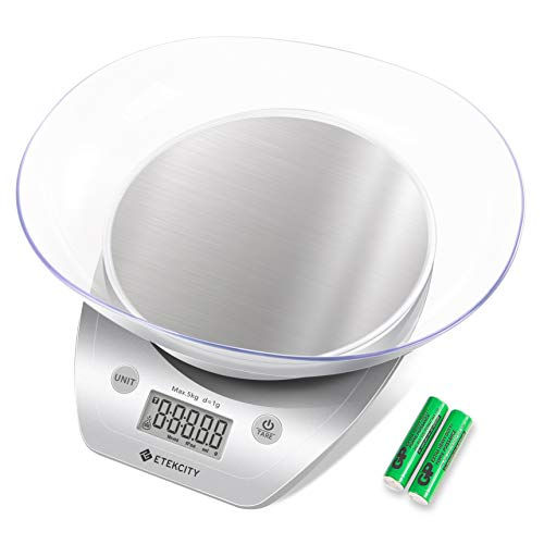Etekcity EK5150 Digital Food Kitchen Scale for cooking and dieting, Removable Bowl, Large, Silver