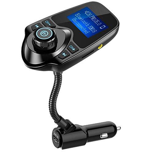 Nulaxy Bluetooth Car FM Transmitter Audio Adapter Receiver Wireless Hands Free Car Kit W 1.44 Inch Display - KM18 Black
