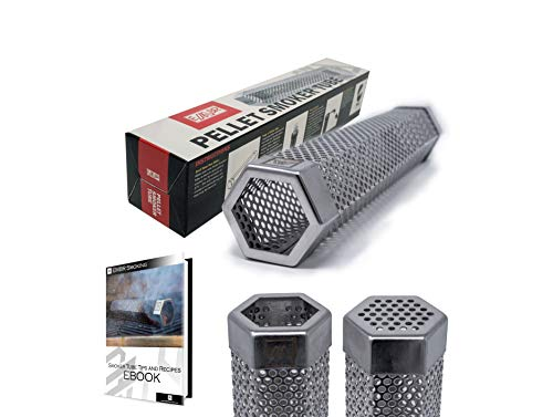 """M Embr Smoking 12"""" Pellet Smoker Tube   Up to 5 Hours of Smoking   Use on Any Grill or Smoker   Hot Smoking & Cold Smoking   E-Book with Recipes are Included"""