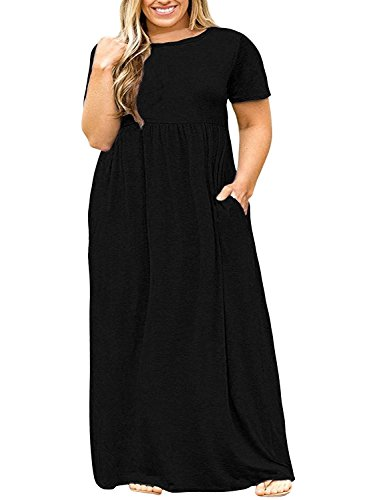 ee5fff7f17a7 Misassy Womens Short Sleeve Plus Size Maxi Dresses Casual Loose Plain Swing  Dress With Pockets - My Maxi Dress