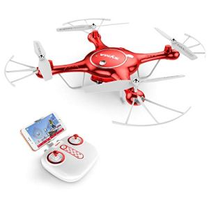 AUKWING New Drone With 720P HD Camera , Syma X5UW Wifi FPV RC Quadcopter Headless Outdoor, 2.4G 6 Axis Gyro (Red) 41sG0PKmJFL