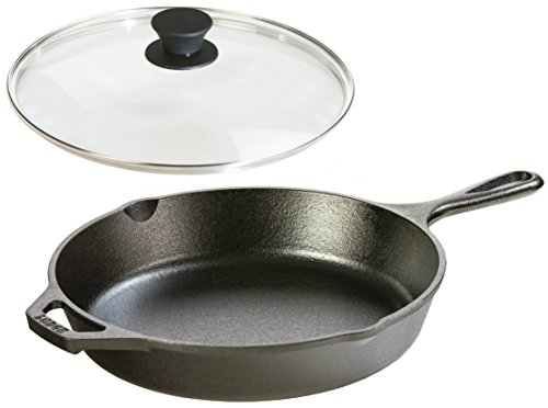 Lodge Seasoned Cast Iron Skillet w/Tempered Glass Lid (10.25 Inch) - Cast Iron Frying Pan With Lid Set.
