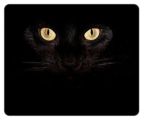 Gaming Mouse Pad Oblong Shaped Black Cat Eyes Mouse Mat Design Natural Eco Rubber Durable Computer Desk Stationery Accessories Mouse Pads For Gift Support Wired Wireless or Bluetooth Mouse