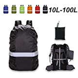 Backpack Rain Cover, 10-100L Waterproof Backpack Cover Reflective Strip Rain Cover for Backpack Anti-Slid Cross Buckle Strap & Reinforced Silver Coating (Black, XS(for 10-20L backpack))