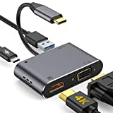 GIKERSY USB C to HDMI VGA Adapter, USB C Hub with 4K HDMI, 1080P VGA,USB 3.0,USB C PD Charging,2 Screens Display,Compatible with MacBook Pro/Air/ipad Pro 2018/Dell XPS/Nintendo Switch/Samsung More