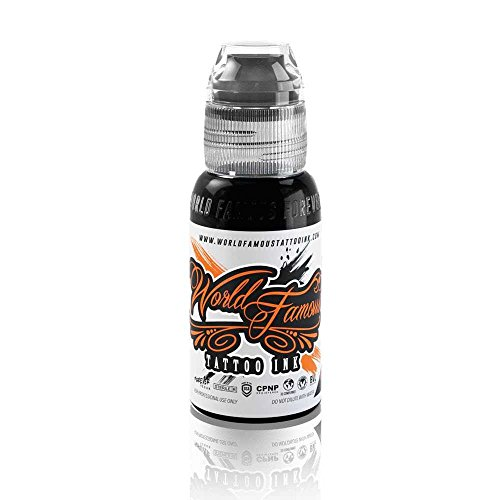 World Famous Tattoo Ink - Vegan-Friendly Professional Tattooing Inks - Pitch Black, 1/2 Ounce